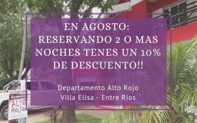 10% de descuento por 2 o mas noches «Departamento Alto Rojo»