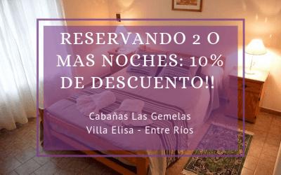 10% off en Cabañas «Las Gemelas»